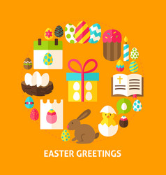 Easter greetings card vector