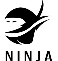 Ninja simple icon isolated on white vector