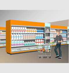 Man with shopping basket in supermarket vector