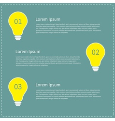 Three step business infographic with yellow light vector