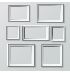 Set of white photo frames vector
