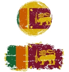 Sri Lanka round and square grunge flags vector image