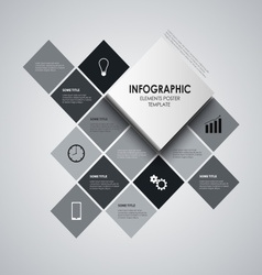 Info graphic with black and white squares template vector