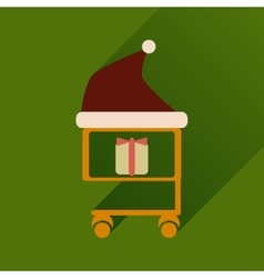 Flat icon with long shadow cart with christmas vector