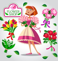 Beautiful florist girl vector