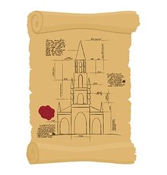 Berne cathedral on old paper scheme ancient scroll vector