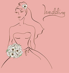 Wedding card with contour sketch of bride vector