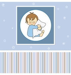 Sleeping child hugging the pillow vector