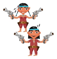 Indians man and woman with modern weapons vector image