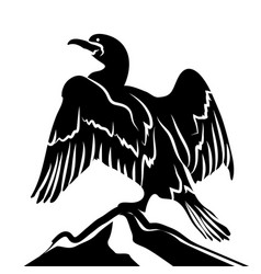 Abstract cormorant in black and white vector