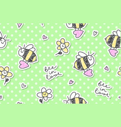 bee in love seamless vector image vector image