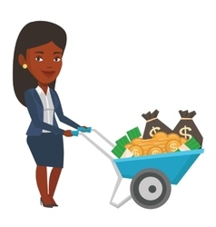 Businesswoman depositing money in bank in the safe vector