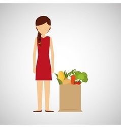 Cartoon girl red dress grocery bag vegetables vector