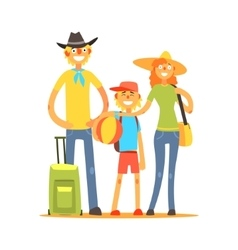 Family of three tourists vector