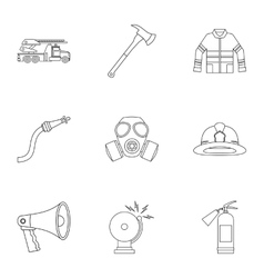 Firefighter icons set outline style vector
