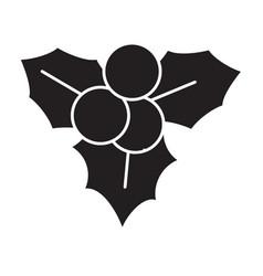 flat black christmas decoration icon vector image