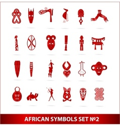 God african symbols set vector red color vector