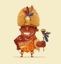 Happy smiling african voodoo shaman vector