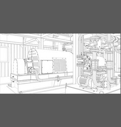 industrial equipment wire-frame 3d render vector image vector image