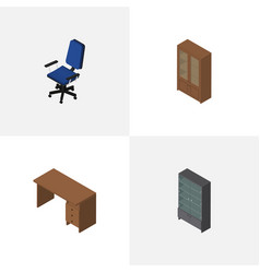Isometric furniture set of sideboard office vector