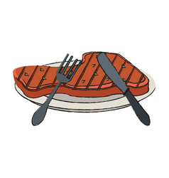 Meat on dish vector