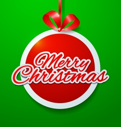 Merry christmas cut paper on green background vector