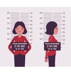 Mugshot of a young white woman vector image