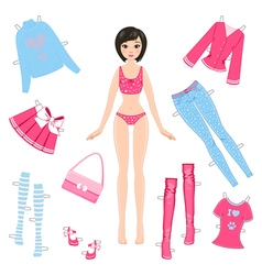 Paper doll with set of clothes vector