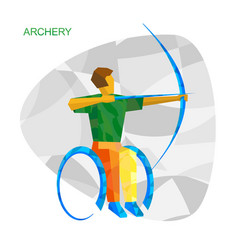 Physically disabled archer with abstract patterns vector