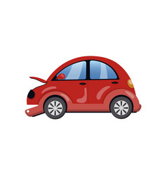 red car damaged in a road accident cartoon vector image