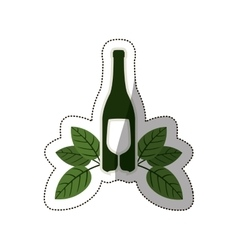 Silhouette bottle wine and goblet with leaves vector