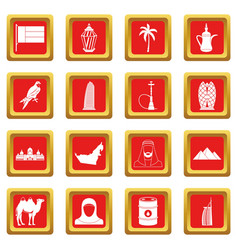 Uae travel icons set red vector