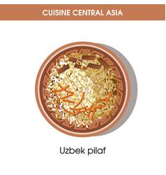 uzbek pilaf on plate from central asian cuisine vector image
