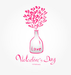 Valentine day and glass bottles heart vector
