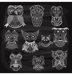 10 chalk drawn owls vector