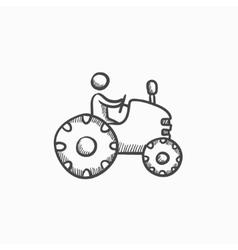 Man driving tractor sketch icon vector image