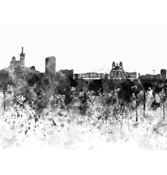 Marseilles skyline in black watercolor on white vector