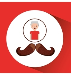 Old man fathers day mustache vector