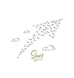 Hand drawn sign of growth formed by birds flock vector