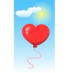 Heart shape of baloon on blue sky and white clouds vector