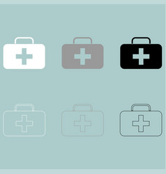 First aid set or medicine chest icon vector