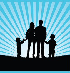 Family with happy children in beauty nature vector