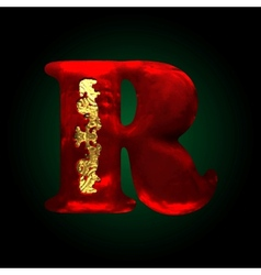 Velvet r letter with gold vector