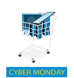 Desktop computer in cyber monday shopping cart vector