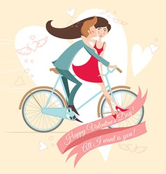 Loving couple on the bicycle valentines day vector