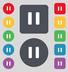 Pause icon sign a set of 12 colored buttons flat vector