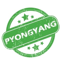 Pyongyang green stamp vector