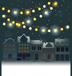 Christmas background with small town vector