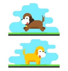 Funny dog sky background concept flat design vector