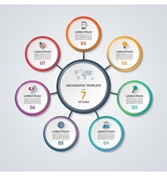 Infographic circle diagram template with 7 options vector